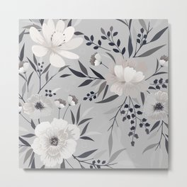 Floral Prints, Gray and White, Art for Walls Metal Print