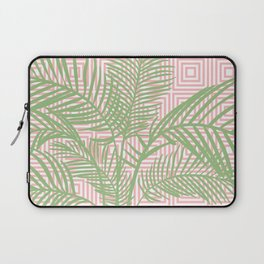 Retro Tropical Palm Trees and Geometric Square Pattern in Modern Pink and Green Laptop Sleeve