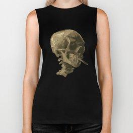 Skull of a Skeleton with Burning Cigarette Biker Tank