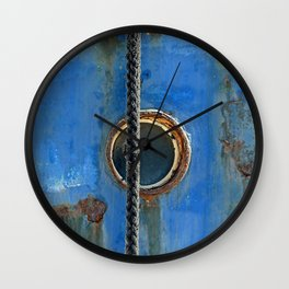 Blue Rusty, Grungy Ship Detail Wall Clock