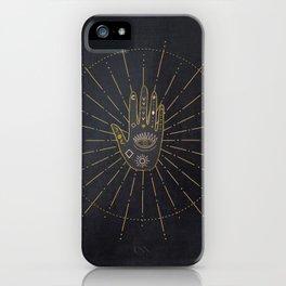 I believe In Magic Gold Tribals On Blue Velvet iPhone Case
