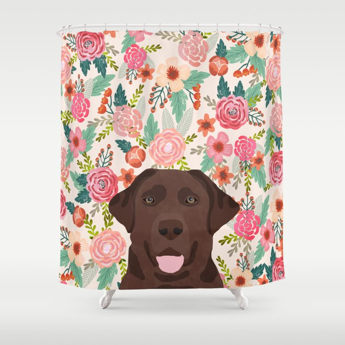 Chocolate Lab Floral Dog Head Cute Labrador Retriever Must Have Pure Breed  Dog Gifts Shower Curtain