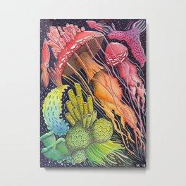 Mushroom Jellyfish Illustration -Rainbow Ocean Metal Print