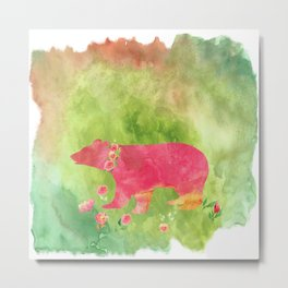 Bear  with flowers - Animal watercolor illustration on #Society6 Metal Print