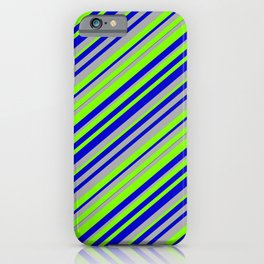 Chartreuse, Blue, and Dark Gray Colored Lined Pattern iPhone Case
