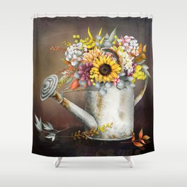 Farm Sunflowers in Watering Can Shower Curtain