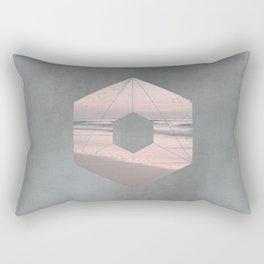 Seaside Geometry In Pastel Pink And Grey Rectangular Pillow