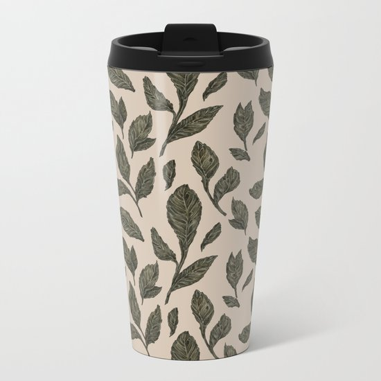 Leaf Pattern Metal Travel Mug