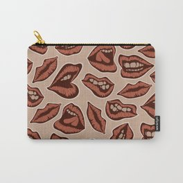 Vintage red lips pattern on the background Carry-All Pouch