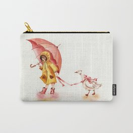 Rainy Day - Girl in a Yellow Rain Coat with Read Umbrella and with a Goose Carry-All Pouch