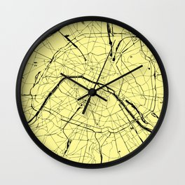 Paris France Minimal Street Map - Yellow on Black Wall Clock