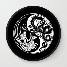 White and Black Dragon Phoenix Yin Yang Wall Clock