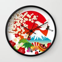 japan Wall Clocks featuring Japan by rie_lalala