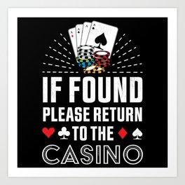 Return to the Casino Poker Gambling Gift Art Print