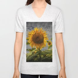 Sunflowers Blooming in a Field Unisex V-Neck