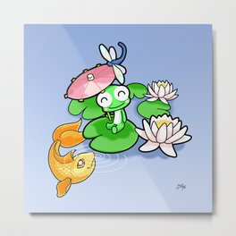 The Frog, The Fish and The Water Lilies Metal Print