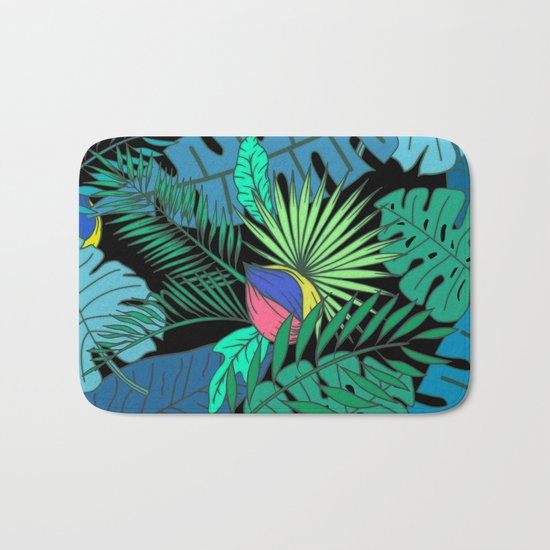 TROPICAL GARDEN B (abstract) Bath Mat