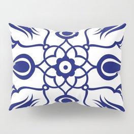 Blue Turkish Traditional Floral Tile Art Pillow Sham