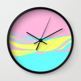 pink & teal waves / minimalist Wall Clock