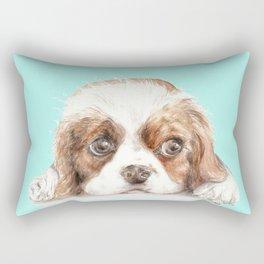 Cavalier King Charles Spaniel Dog Watercolor Pet Portrait Rectangular Pillow