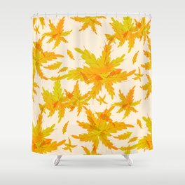 Exotic Tropical oak leaves pattern Shower Curtain