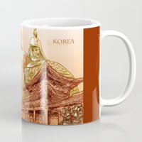 korean Mugs featuring Korean Travels by Lundy