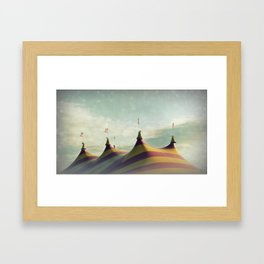 Red and Yellow Striped Six Horned Beast Rising Framed Art Print