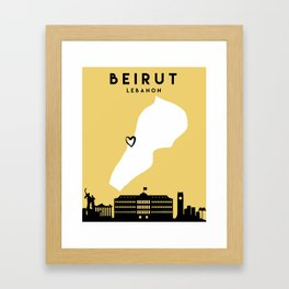BEIRUT LEBANON LOVE CITY SILHOUETTE SKYLINE ART Framed Art Print