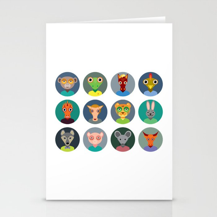 Chinese zodiac collection, Set of animals faces circle icons in Trendy Flat Style Stationery Cards