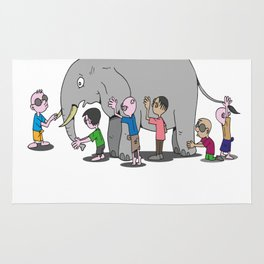 Blind Men and an Elephant Famous Story Tale Design Rug