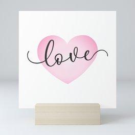 Simple Valentine's Day Love Calligraphy Pink Heart Mini Art Print