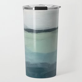 Seafoam Green Mint Navy Blue Abstract Ocean Art Painting Travel Mug