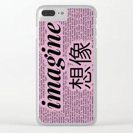 imagine - Ariana - lyrics - imagination - pink black Clear iPhone Case