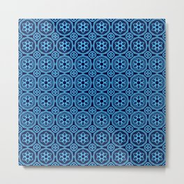 African Tribal Style Hexagon Motif Pattern Dark and Light Blue Metal Print