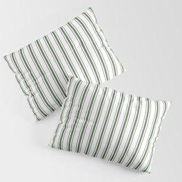 Large Dark Forest Green and White Mattress Ticking Stripes Pillow Sham