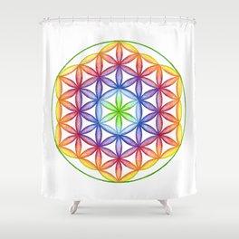 Rainbow Flower of Life - Rainbow Tribe Collection Shower Curtain
