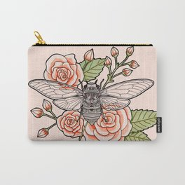 Cicada with Roses - Pink Carry-All Pouch