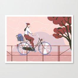 Biking to work Canvas Print