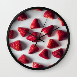 FRESH - CUT - STRAWBERRIES - PHOTOGRAPHY Wall Clock