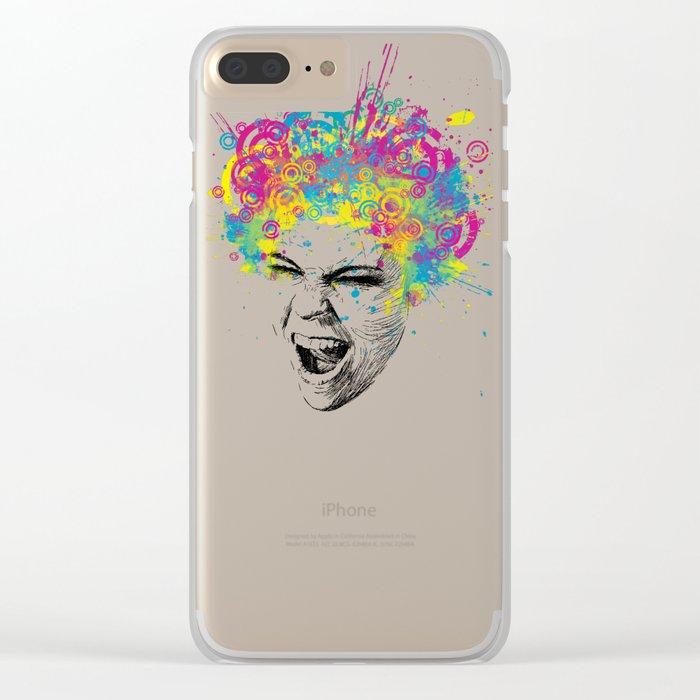 Crazy Colorful Scream Clear iPhone Case