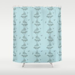 Birds And The Giant Tree - Blue/Gray Shower Curtain