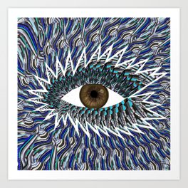 Origami Chakra Eye - Chocolate Brown Black Art Print