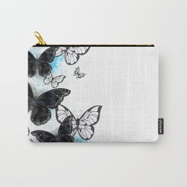 Background with Black Butterflies Carry-All Pouch