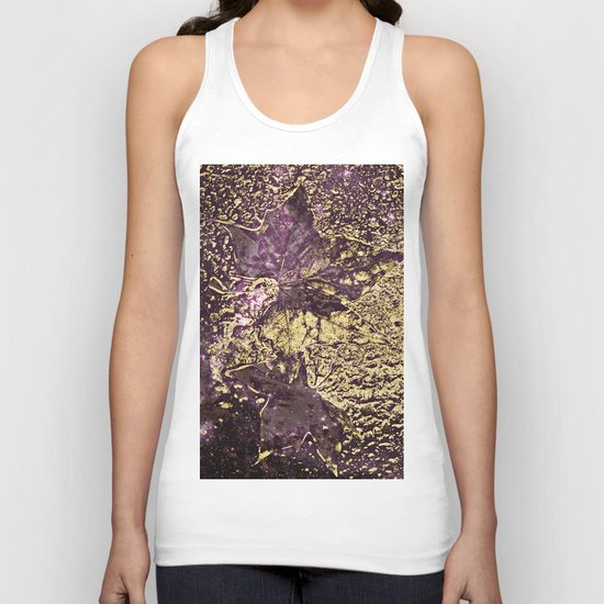 Purple leaves in melted gold Unisex Tank Top
