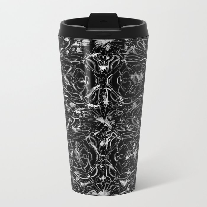 Black and white astral paint 5020 Metal Travel Mug