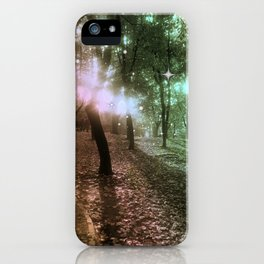 Forest by dawn in green, yellow and fuchsia light iPhone Case