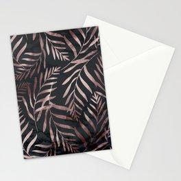 Rose Gold Leaves on Dark Gray Black Stationery Cards