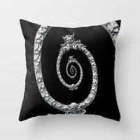 haunted mansion Throw Pillows featuring Haunted Mansion dröste by designoMatt