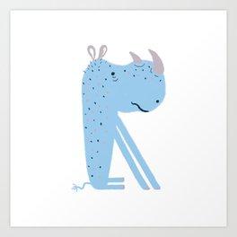 R is for Rhinoceros Art Print