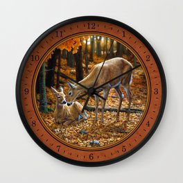 Whitetail Deer and Fawn in Autumn Wall Clock